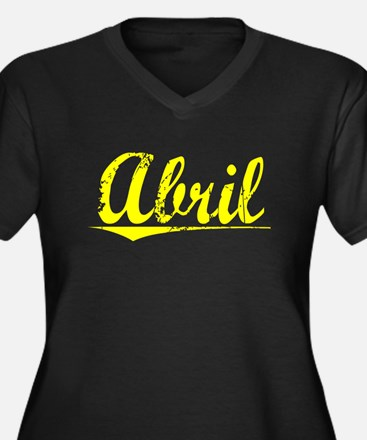 Abril, Yellow Women's Plus Size V-Neck Dark T-Shir