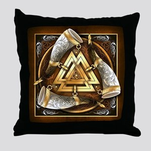 Norse Drinking Horn Valknut Throw Pillow