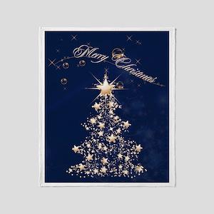 Blue Golden Christmas Throw Blanket