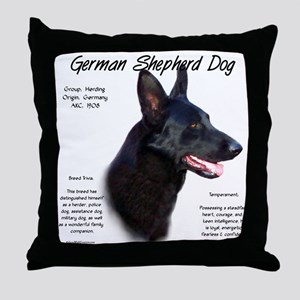 Black GSD Throw Pillow