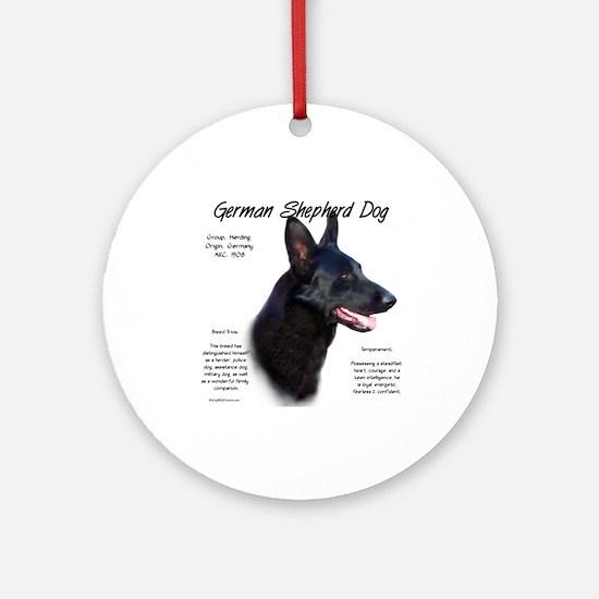 Black GSD Round Ornament