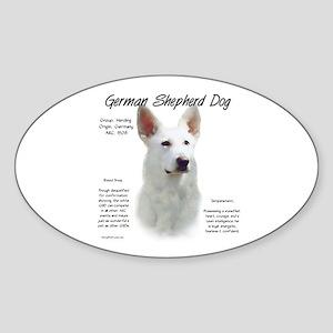 White GSD Sticker (Oval)