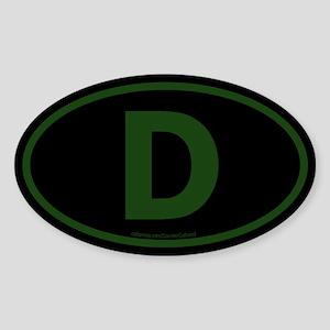"""""""D"""" Euros Oval Sticker"""