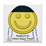 Messianic Smiley Tile Coaster