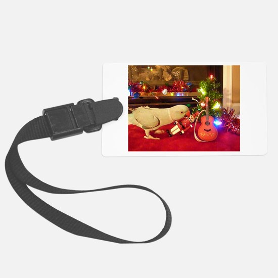 Indian Ringneck Parrot rockstar Christmas Luggage Tag