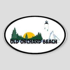 Old Orchard Beach ME - Beach Design. Sticker (Oval