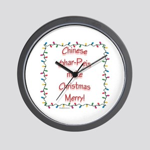 Shar-Pei Merry Wall Clock