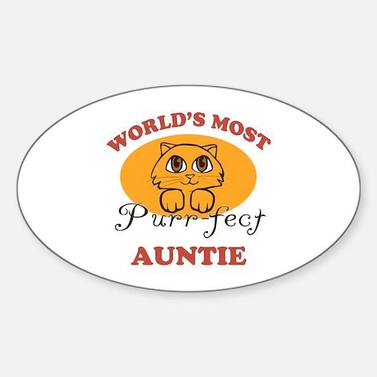 One Purrfect Auntie Sticker (Oval)