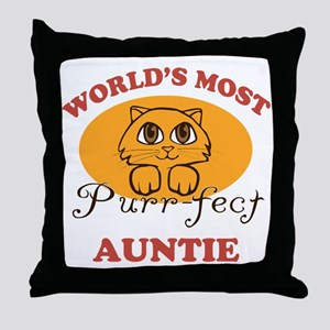 One Purrfect Auntie Throw Pillow