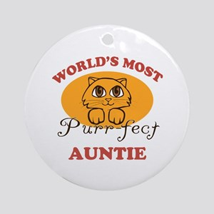 One Purrfect Auntie Ornament (Round)