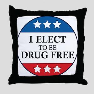 Drug Free Pin Throw Pillow