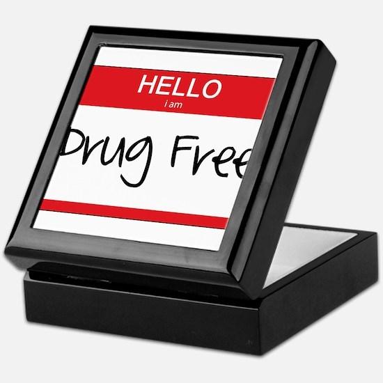 Hello Im Drug Free Keepsake Box