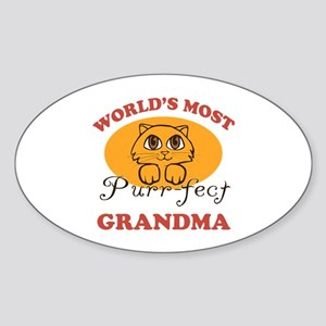 One Purrfect Grandma Sticker (Oval)