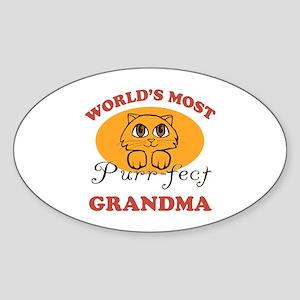 One Purrfect Grandma Sticker (Oval)