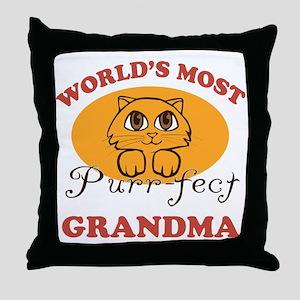 One Purrfect Grandma Throw Pillow