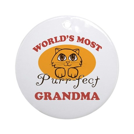 One Purrfect Grandma Ornament (Round)