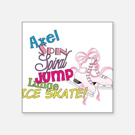 "Ice Skating Square Sticker 3"" x 3"""
