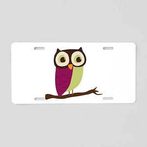 Retro Chic Owl Aluminum License Plate