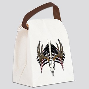 Whitetail, USA flag Canvas Lunch Bag