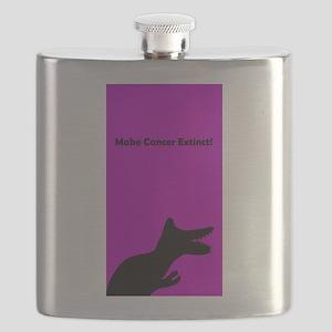 Make Cancer Extinct Dinosaur Designer Purple Flask