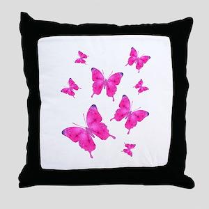 Dazzled Pink Butterflies Flurry Throw Pillow