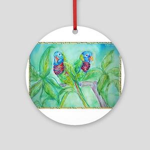 Lorikeets! Colorful bird art! Ornament (Round)