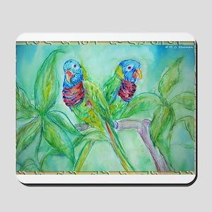 Lorikeets! Colorful bird art! Mousepad