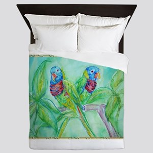 Lorikeets! Colorful bird art! Queen Duvet