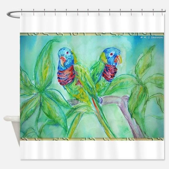 Lorikeets! Colorful bird art! Shower Curtain