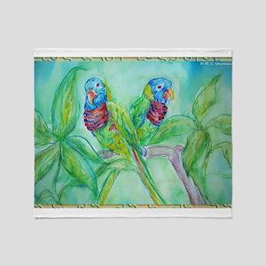 Lorikeets! Colorful bird art! Throw Blanket