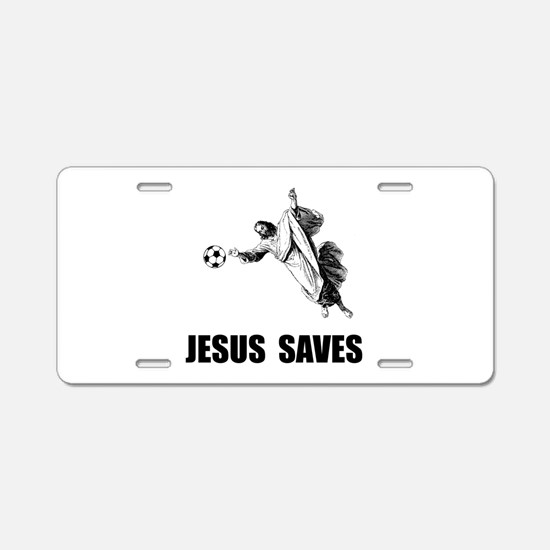 Jesus Saves Soccer Aluminum License Plate