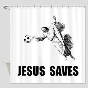 Jesus Saves Soccer Shower Curtain