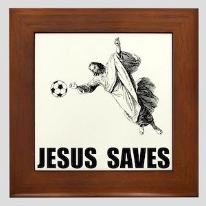 Jesus Saves Soccer Framed Tile