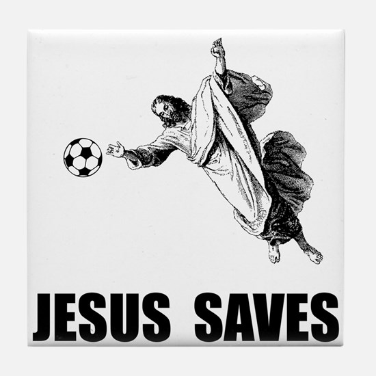 Jesus Saves Soccer Tile Coaster