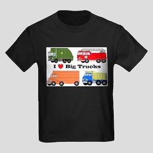I Heart Big Trucks Kids Dark T-Shirt