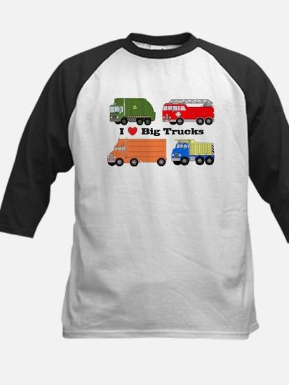 I Heart Big Trucks Kids Baseball Jersey