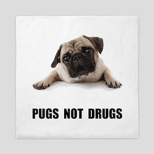 Pugs Not Drugs Black Queen Duvet