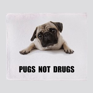 Pugs Not Drugs Black Throw Blanket