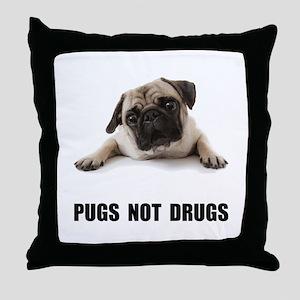 Pugs Not Drugs Black Throw Pillow
