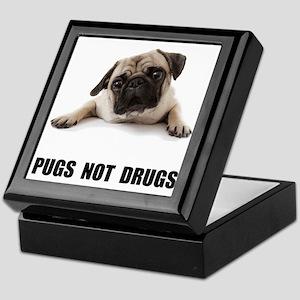 Pugs Not Drugs Black Keepsake Box