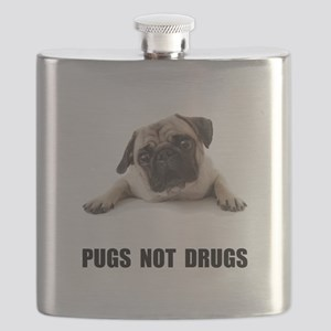 Pugs Not Drugs Black Flask