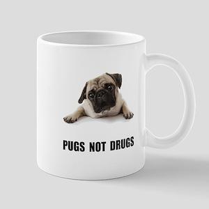 Pugs Not Drugs Black Mug