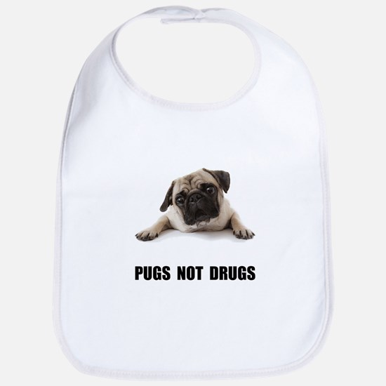 Pugs Not Drugs Black Bib