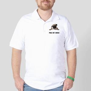 Pugs Not Drugs Black Golf Shirt