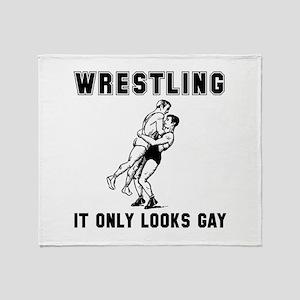 Wrestling Looks Gay Throw Blanket