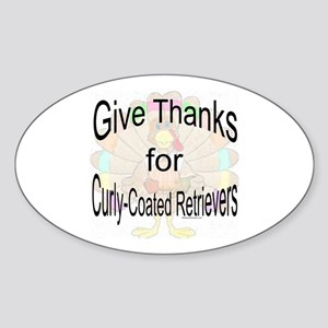 Thanks for Curly Coated Oval Sticker
