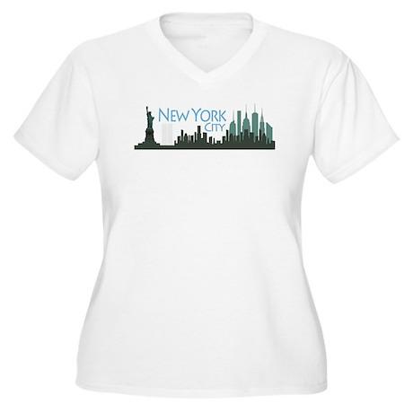 New York City Skyline Women's Plus Size V-Neck T-S