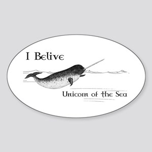I Believe - Unicorn of the Sea Sticker (Oval)