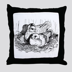 Baby Pigeons Throw Pillow