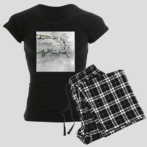 Caribbean Map Women's Dark Pajamas